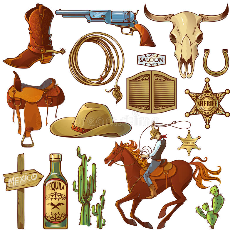 Wild West Elements Set royalty free illustration