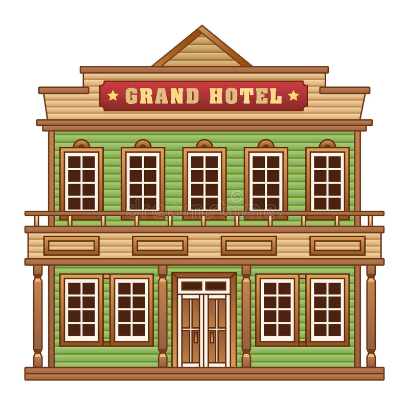 Wild West grand hotel vector illustration