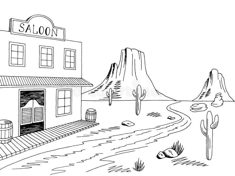 Wild west graphic black white prairie landscape sketch illustration. Vector stock illustration