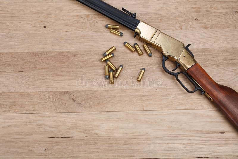 Wild west gun with rounds royalty free stock image