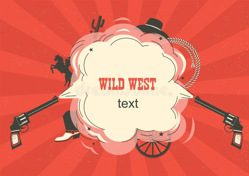 Wild West illustration with cowboy guns and burst space for text on red background vector illustration