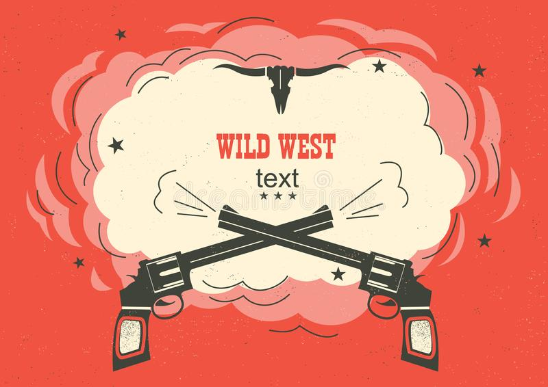 Wild West illustration with cowboy guns and burst space for text on red background royalty free illustration