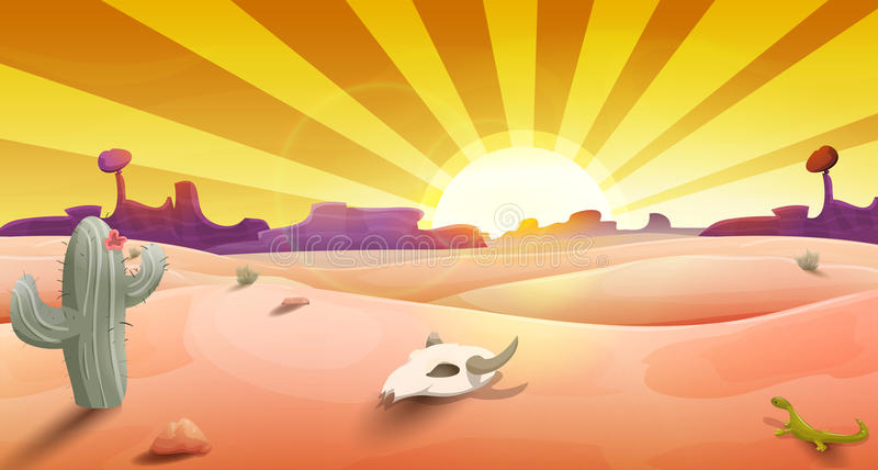 Wild west landscape with desert at sunset, cactus, mountains and scull. royalty free illustration
