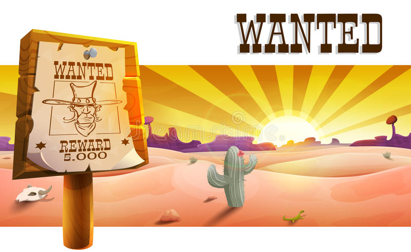 Wild west landscape with desert at sunset, cactus, mountains and western poster with cowboy face and the inscription is wanted. vector illustration