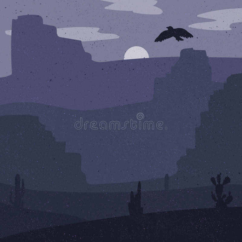 Wild West Landscape. Night Retro Wild West Desert. Vintage moon in prairie with cacti and eagle in sky. Grunge old texture. Natural Landscape for print, poster stock illustration