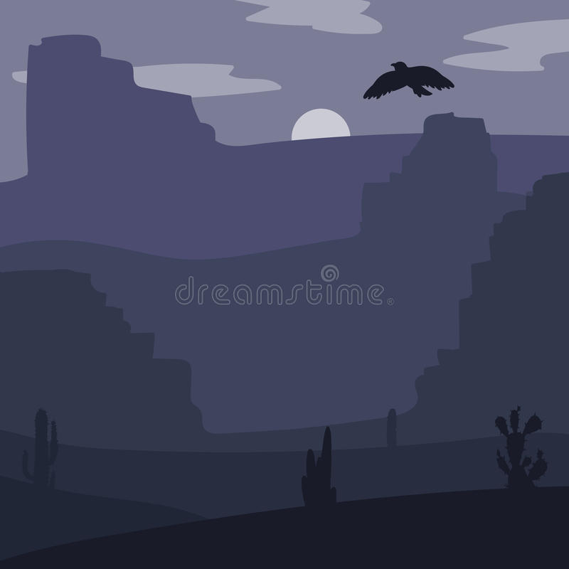 Wild West Landscape. Night Retro Wild West Desert. Vintage moon in prairie with cacti and eagle in sky. Grunge old texture. Natural Landscape for print, poster royalty free illustration