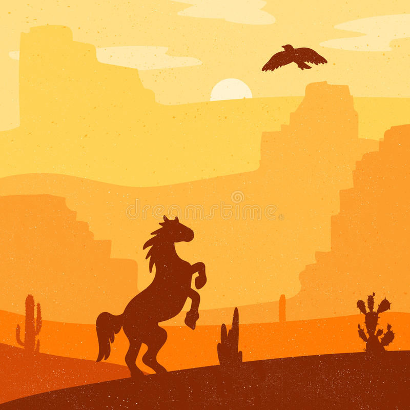 Wild West Landscape. Retro Wild West galloping horse in desert. Vintage sunset in prairie with mustang, cacti and eagle in sky. Grunge old texture. Natural stock illustration
