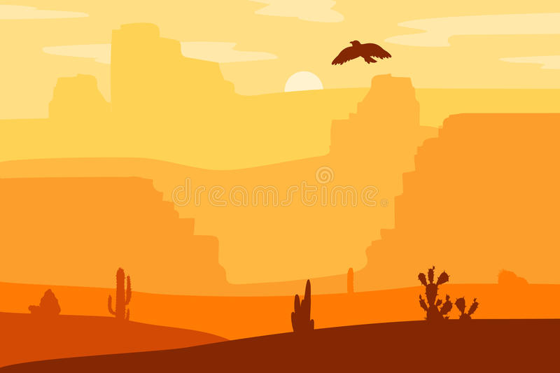 Wild West Landscape. Retro Wild West galloping horse in desert. Vintage sunset in prairie with mustang, cacti and eagle in sky. Western Day. Natural Landscape royalty free illustration
