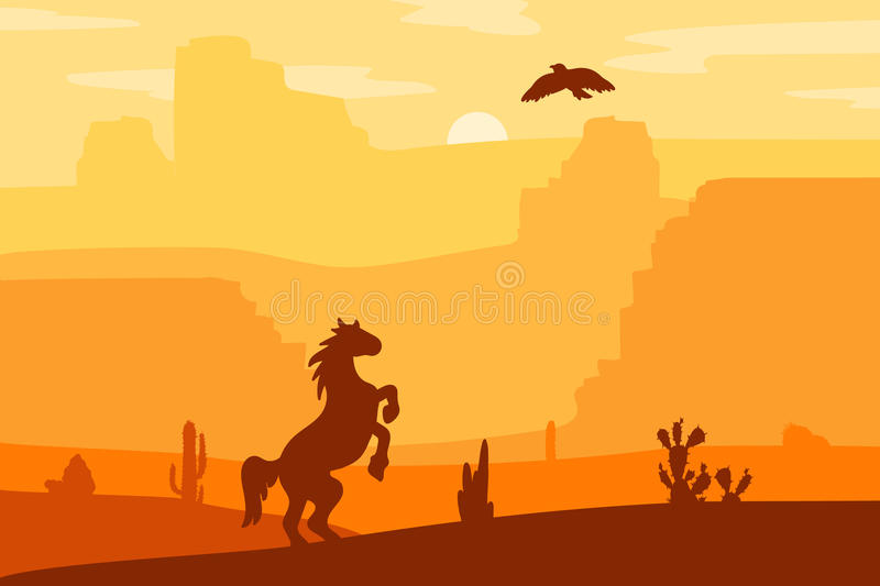 Wild West Landscape. Retro Wild West galloping horse in desert. Vintage sunset in prairie with mustang, cacti and eagle in sky. Western Day. Natural Landscape stock illustration