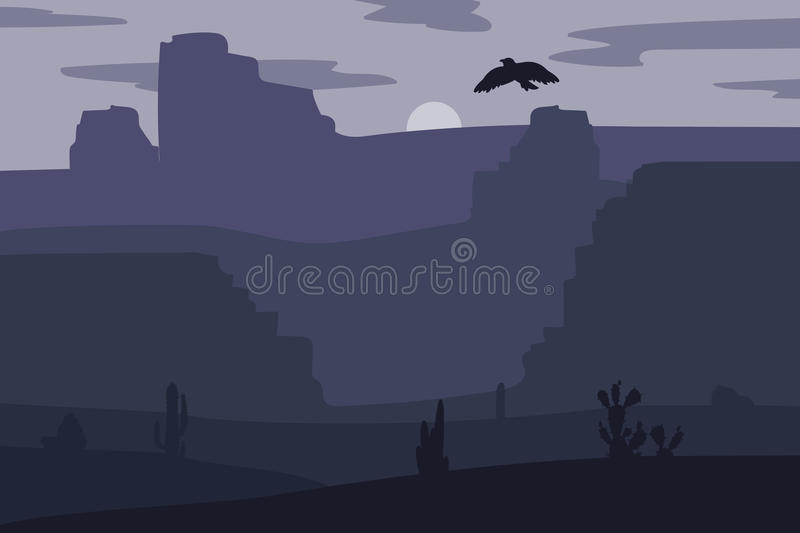 Wild West Landscape. Retro Wild West galloping horse in desert. Vintage sunset in prairie with mustang, cacti and eagle in sky. Western Night. Natural Landscape royalty free illustration