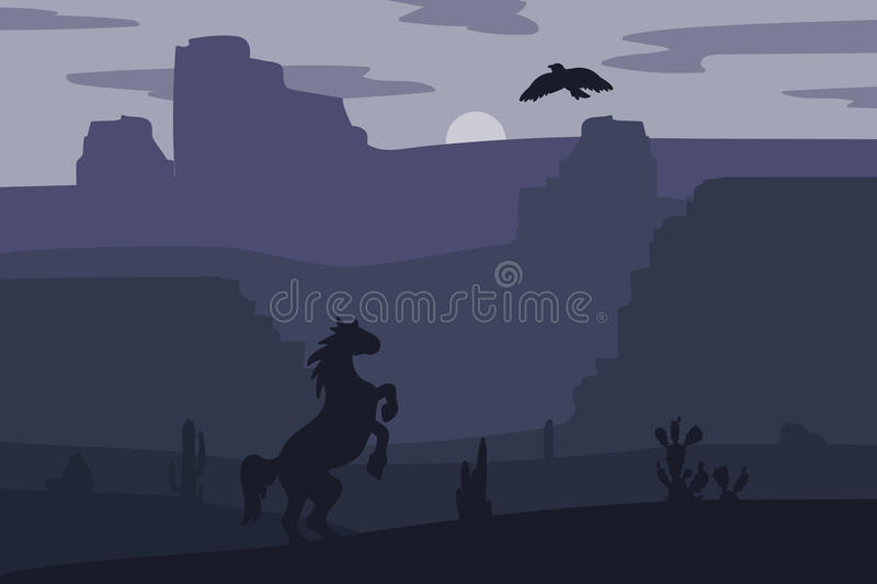Wild West Landscape. Retro Wild West galloping horse in desert. Vintage sunset in prairie with mustang, cacti and eagle in sky. Western Night. Natural Landscape stock illustration