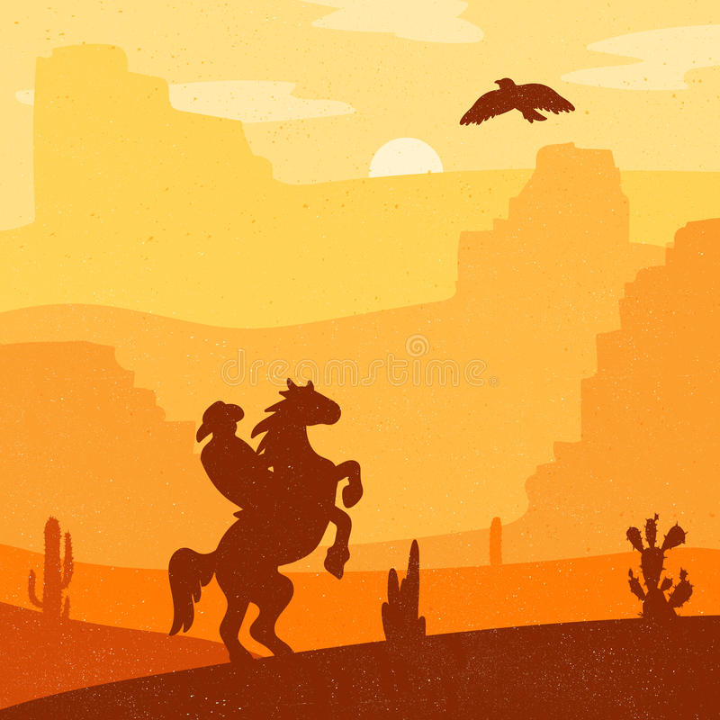 Wild West Landscape. Retro Wild West Hero on galloping horse in desert. Vintage sunset in prairie with cowboy, cacti and eagle in sky. Grunge old texture royalty free illustration