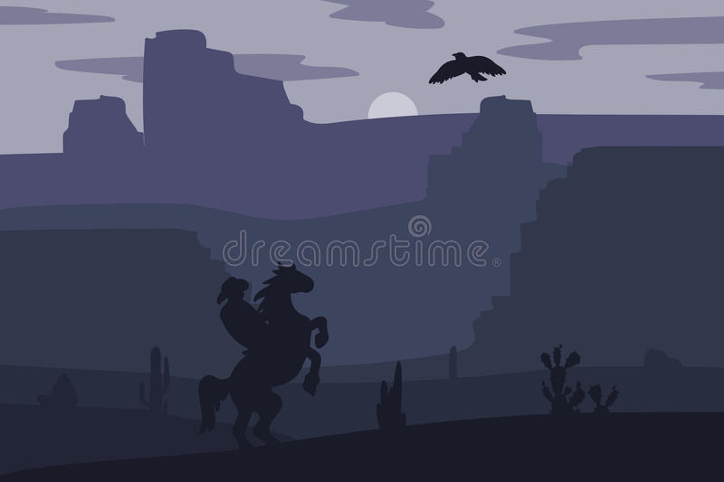 Wild West Landscape. Retro Wild West Hero on galloping horse in desert. Vintage sunset in prairie with cowboy, cacti and eagle in sky. Western Night. Natural vector illustration