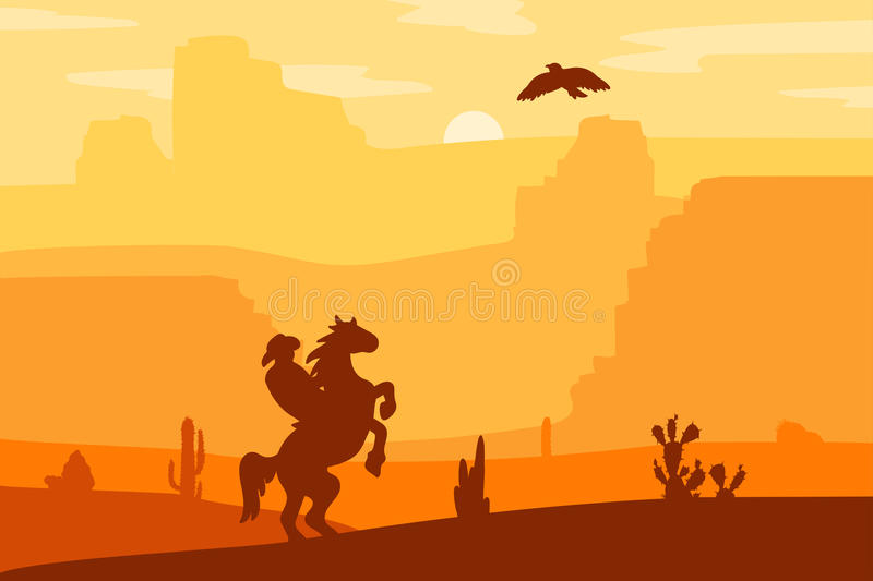 Wild West Landscape. Retro Wild West Hero on galloping horse in desert. Vintage sunset in prairie with cowboy, cacti and eagle in sky. Western Day. Natural royalty free illustration
