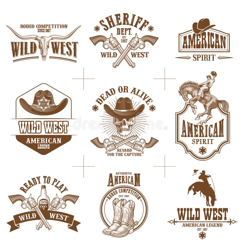Free Wild West Logos Vector Collection Stock Images - 116792844