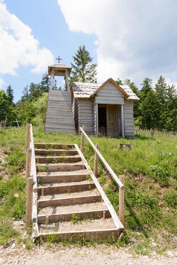 Wild west movie set ,North of Fuzine , Croatia. Fuzine , Croatia - June 4. 2017. church in abandonet wild west movie set stock images