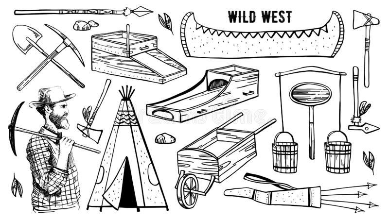Wild west and native American objects set. Wigwam, digger, canoe, rocker boxes, mining tools, weapons. Vector hand drawn outline sketch illustration black on vector illustration