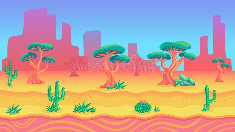 Wild west nature seamless background for game design vector illustration