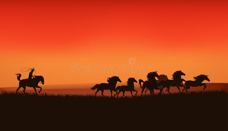 Wild west prairie. Landscape - cowboy chasing the herd of wild horses at the sunset - detailed vector illustration stock illustration