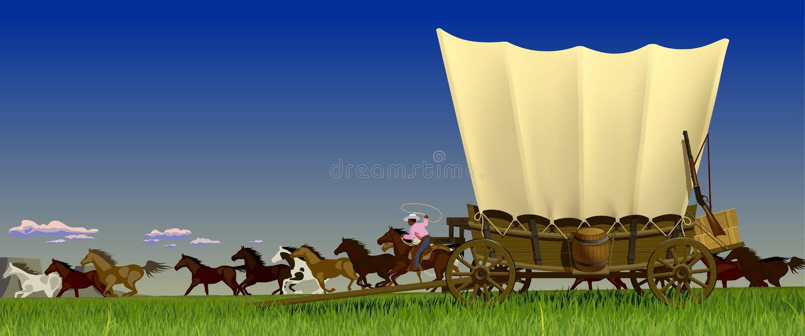 Wild West prairie landscape with covered wagon and flock of horses. Vector illustration vector illustration