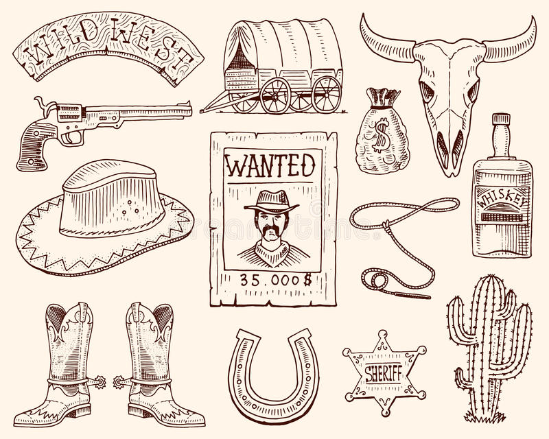 Wild west, rodeo show, cowboy or indians with lasso. hat and gun, cactus with sheriff star and bison, boot with royalty free illustration