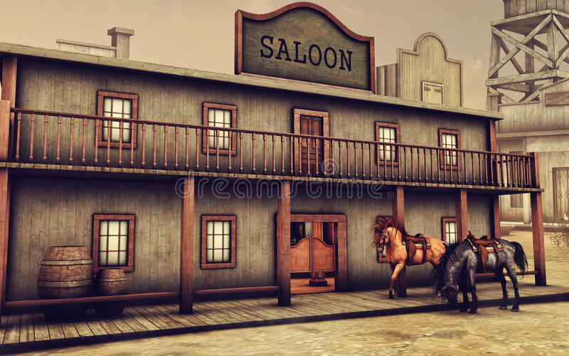 Wild West saloon and horses vector illustration