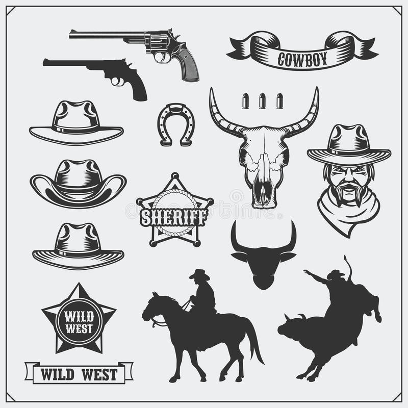 Wild west. Set of rodeo, sheriff and cowboy vintage emblems, icons and design elements. Black and white royalty free illustration