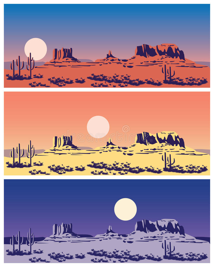 Wild West set. Stylized vector illustration on the theme of the Wild West, the great canyon, mountains and deserts. seamless horizontally if needed vector illustration