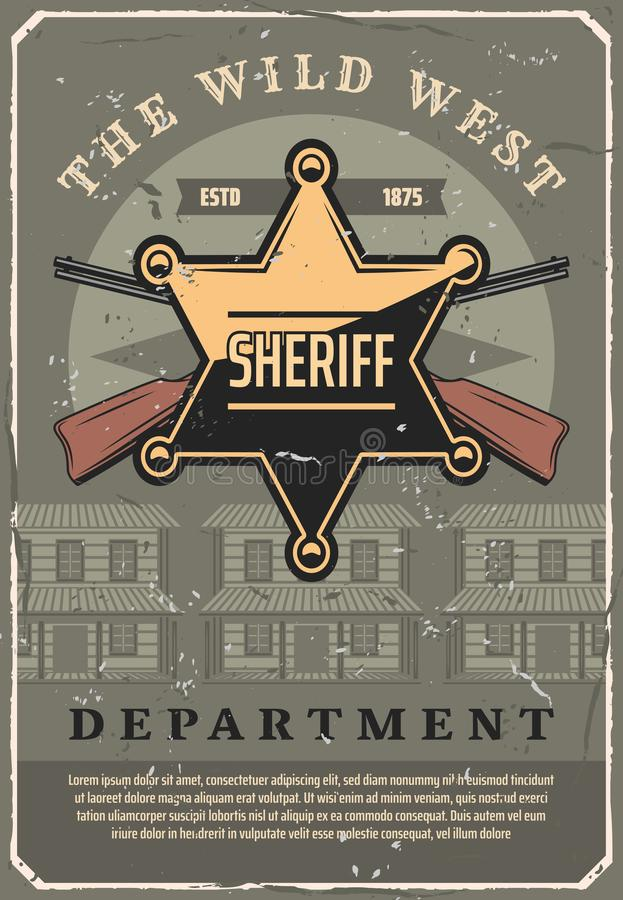 Wild West sheriff star badge and gun, vector. Wild West sheriff police department vintage poster. Old American western design of sheriff golden star badge on and stock illustration