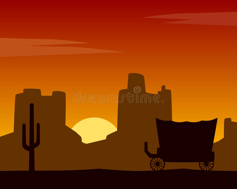 Wild West Sunset Background with Coach. Wild west silhouette background at sunset, with mountains and coach. Eps file available stock illustration