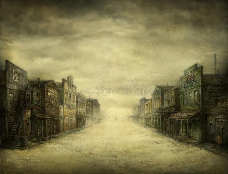 Wild West Town. Gloomy day in an old West town. Acrylic on paper & processing