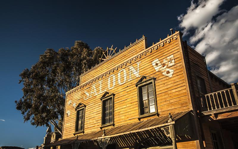 Wild West Town Saloon. Vintage Old Wild West desert cowboy town with saloon royalty free stock photo