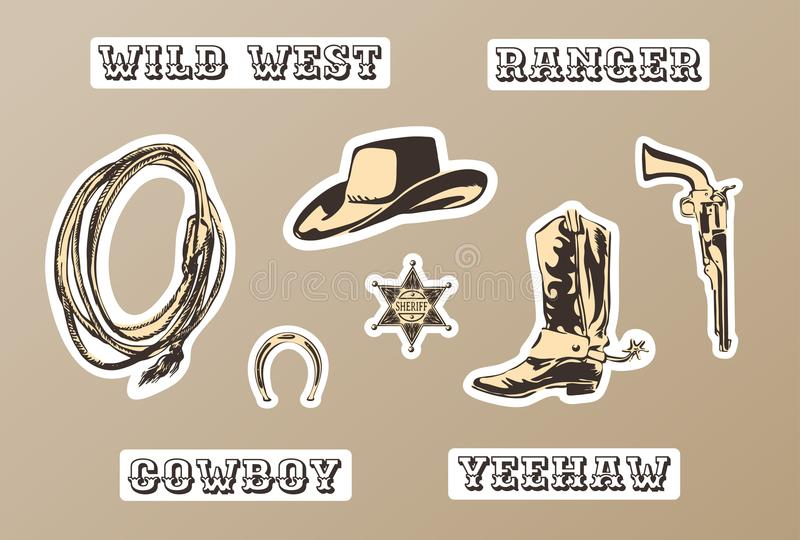 Wild west vector sticker set. Hand drawn silhouette of horseshoe, sheriff badge, boot, hat, gun, lasso for cowboy paty. royalty free illustration