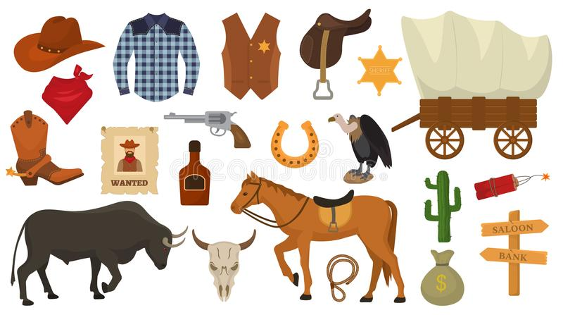 Wild west vector western cowboy or sheriff signs hat or horseshoe in wildlife desert with cactus illustration wildly royalty free illustration