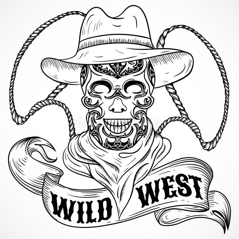 Wild west. Vintage poster with scull cowboy, lasso and ribbon banner stock illustration