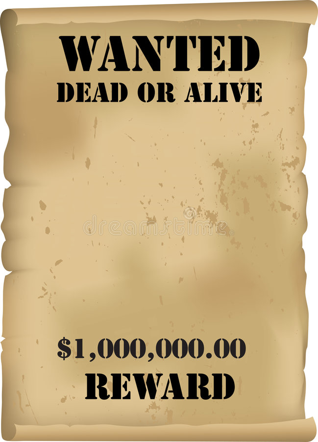 Free Wild West Wanted Poster Vector Stock Image - 6031451