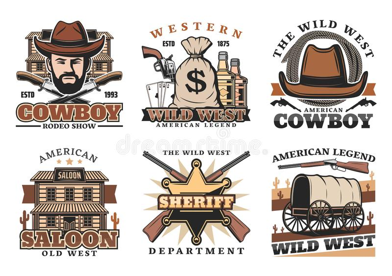 Western Wild West cowboy, saloon and gun icons royalty free illustration