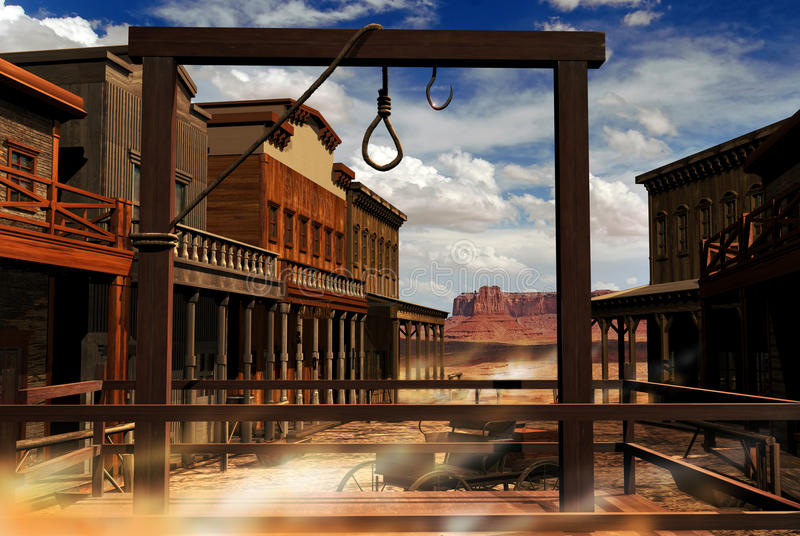 Wild western town. View of the street of a western town with several edifices. In the foreground, a gallows is raised, with a ready rope for a hanging. The wind royalty free illustration