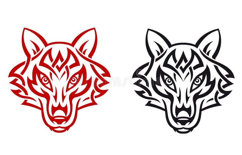 Wild wolf. For tribal tattoo. Vector illustration stock illustration
