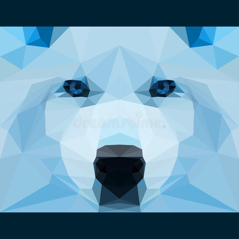 Wild wolf stares forward. Nature and animals life theme background. Abstract geometric polygonal triangle illustration. For use in design for card, invitation stock illustration