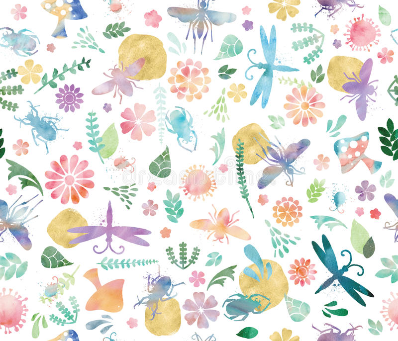 Wild World in Watercolor Seamless Pattern royalty free illustration