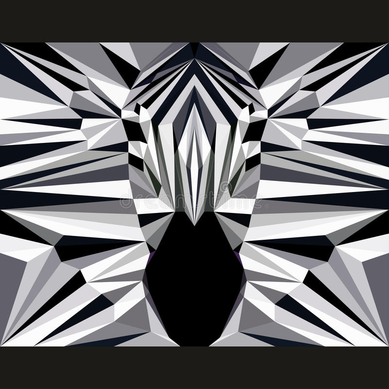 Wild zebra stares forward. Nature and animals life theme background. Abstract geometric polygonal triangle illustration. For use in design for card, invitation stock illustration