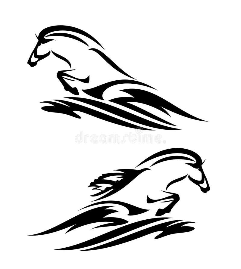 Wild zeepaardje en oceaangolf zwart vectorontwerp royalty-vrije illustratie