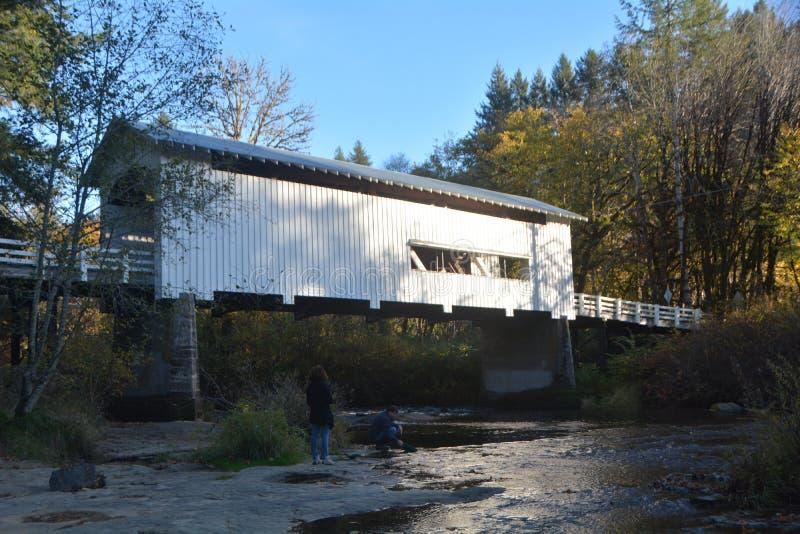 Wildcat Creek Covered Bridge, Lane Co., Oregon. Wildcat Creek Bridge is a covered bridge built in 1925 at Austa, near Walton, in the U.S. state of Oregon. It stock image