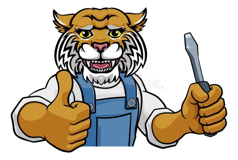 Wildcat Electrician Handyman Holding Scredriver vector illustratie