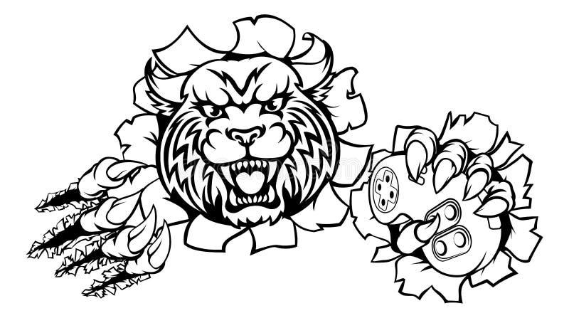 Wildcat ou Bobcat Esports Gamer Mascot ilustração royalty free