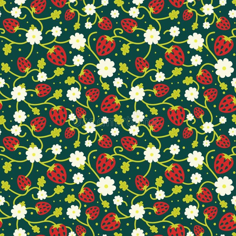 Wilde aardbeien naadloos patroon op donkergroene kleur royalty-vrije illustratie