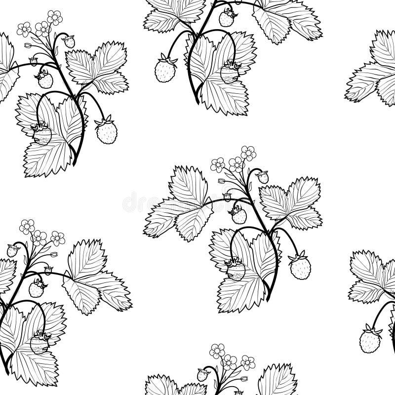 Wilde aardbeien naadloze achtergrond, zwart-wit periodiek patroon royalty-vrije illustratie