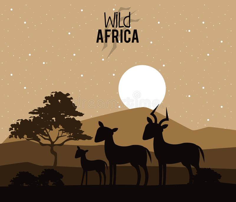 Wilde Afrika-Tiere lizenzfreie abbildung