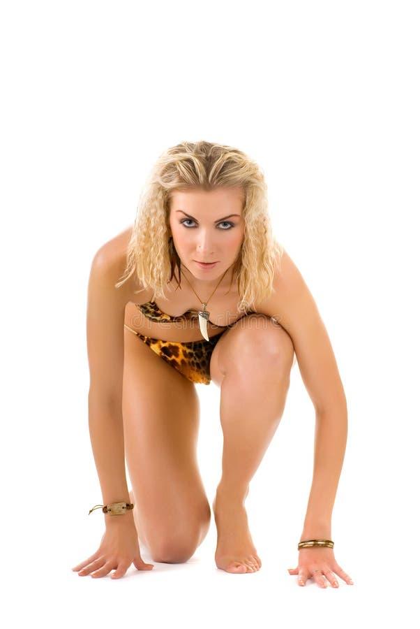 De wilde vrouw van Amazonië royalty-vrije stock afbeelding